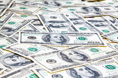 Американец 100 банкнот долларов конца предпосылки вверх Стоковые Изображения RF