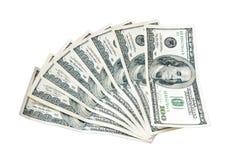 Американец денег 100 долларов изолированных на белой предпосылке Стоковые Изображения RF