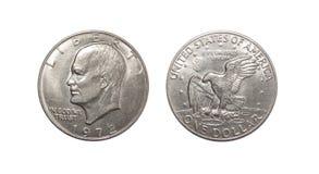 Американец одна монетка доллара изолированная на белой предпосылке Стоковое Фото