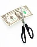 американец режет примечание одно доллара scissors Стоковая Фотография