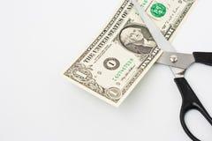 американец режет примечание одно доллара scissors Стоковые Изображения RF