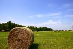 американец тюкует сторновку сена сельской местности золотистую Стоковое фото RF