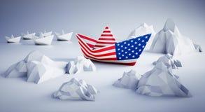 Американская бумажная шлюпка в опасности иллюстрация штока