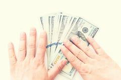 Американская валюта, 100 банкнот доллара на белой предпосылке Стоковые Изображения RF