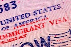 американская виза Стоковая Фотография RF