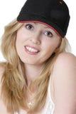 американская девушка бейсбольной кепки Стоковое Изображение