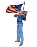 Американская иллюстрация солдата винтовки гражданской войны Стоковая Фотография