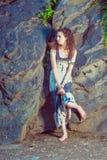 Американская мода лета девочка-подростка в Нью-Йорке Стоковое Фото