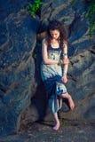 Американская мода лета девочка-подростка в Нью-Йорке Стоковое Изображение RF