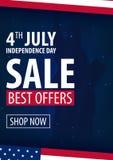 американская независимость дня 4-ое из предложений продажи в июле исключительных, плаката продажи Предпосылка шаблона для поздрав Стоковое фото RF