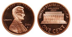 Американская одна монетка цента изолированная на белой предпосылке стоковая фотография rf