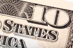 Американская долларовая банкнота денег 10 в макросе Стоковое Фото