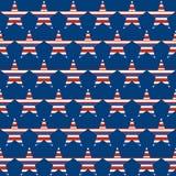 Американская патриотическая безшовная картина с звездами Стоковая Фотография