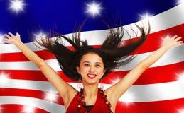американская празднуя девушка Стоковые Изображения
