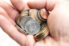 американская рука монеток Стоковые Фотографии RF