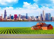 Американская страна с запачканным большим городом Стоковая Фотография RF
