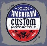 Американская таможня - значок мотоцикла тяпки иллюстрация вектора