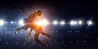 американская футбольная игра Мультимедиа Стоковая Фотография