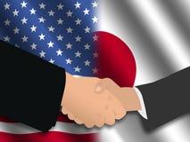 американская японская встреча иллюстрация вектора