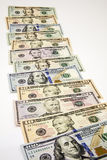 Американские банкноты получают белизну наличными времени роста изолированную будущим стоковое изображение