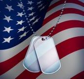 американские бирки флага собаки Стоковое фото RF