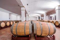 Американские бочонки дуба с красным вином вино погреба традиционное Стоковые Изображения RF