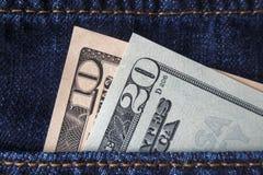 американские доллары карманн джинсыов Стоковые Изображения RF