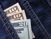американские доллары карманн джинсыов Стоковое фото RF