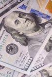 Американские доллары наличных денег, конца-вверх банкнот Много 100 USD запрета Стоковые Фото