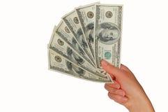американские доллары руки Стоковая Фотография