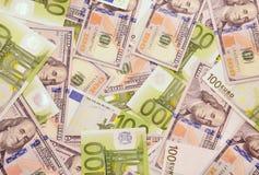 Американские и европейские деньги Стоковое Изображение RF