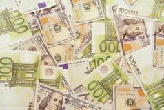 Американские и европейские деньги Стоковая Фотография