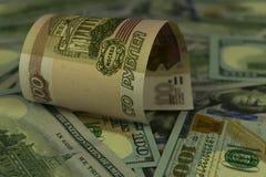 Американские и русские банкноты Стоковые Изображения RF