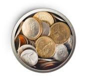 Американские монетки в жестяной коробке Стоковое Изображение