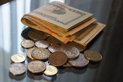 Американские монетки цента доллара, взгляд макроса Стоковое фото RF
