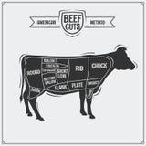 Американские отрезки говядины также вектор иллюстрации притяжки corel бесплатная иллюстрация