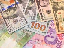 Американские доллары и бумажные деньги grivnas Стоковое Фото