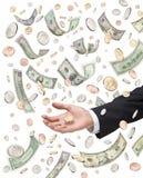 американские падая деньги выдаваемого Стоковые Фотографии RF