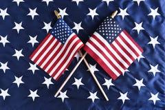 американские пересеченные флаги Стоковое фото RF