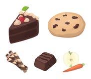 Американские печенья, кусок пирога, конфета, tubule вафли Значки собрания шоколада установленные десертами в шарже вводят вектор  Стоковые Фотографии RF