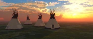 американские родние teepees Стоковое Изображение RF