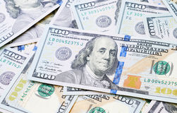 Американские счеты 100 долларов как предпосылка Стоковые Фото