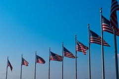 Американские флаги в строке Стоковое фото RF