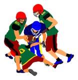 Американские футболисты в действии, иллюстрации вектора Сражение для шарика Популярная дисциплина спорта иллюстрация вектора