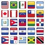 Американские флаги придали квадратную форму значкам Стоковые Фото