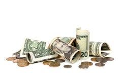 американские деньги предпосылки над белизной Стоковое фото RF