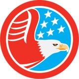 Американский белоголовый орлан играет главные роли круг ретро Стоковое Изображение