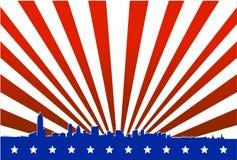 американский большой силуэт города иллюстрация штока