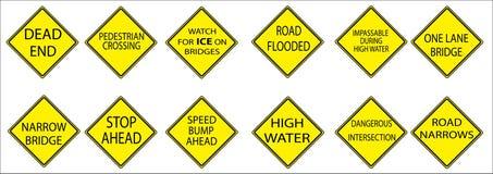 американский желтый цвет дорожных знаков Стоковая Фотография