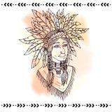 Американский индеец в головных уборах также вектор иллюстрации притяжки corel Стоковые Фотографии RF